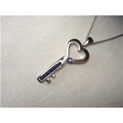 Estate 14K WG Gold Sapphire Heart Key Pendant #2393949