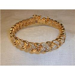 Estate 14K Gold 4 CT Diamond Braided Bracelet #2393951