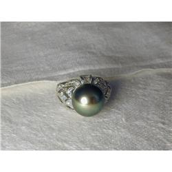 Estate 18K WG Filigree Black Pearl Diamond Ring#2393953