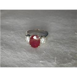 Estate 14K WG 4 CT Ruby Diamond Tri-Stone Ring #2393954
