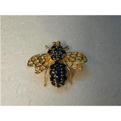 Estate 14K YG Yellow Gold Sapphire Bee Brooch  #2393956