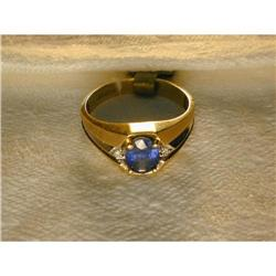Estate 14K YG 1 CT Sapphire Diamond Mens Ring #2393957