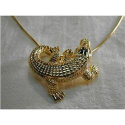 Estate 14K YG Alligator Crocodile Pendant Slide#2393958