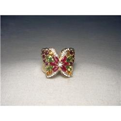 14K Yellow Gold Diamond Gemstone Butterfly Ring#2393959