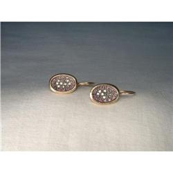 14K Pink Gold Rose Cut Diamond Ruby Earrings #2393961