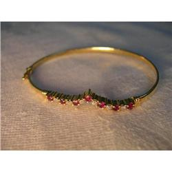 Rare Estate 14K YG Gold Ruby Diamond Bangle #2393963