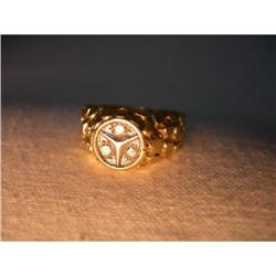 Estate 14K YG Gold Diamond Unisex Mercedes Ring#2393964