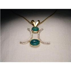 Estate 14K YG Gold Emerald Diamond Pendant #2393965