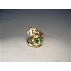 Estate 14K Gold Peridot Ruby Snake Cobra Ring #2393966