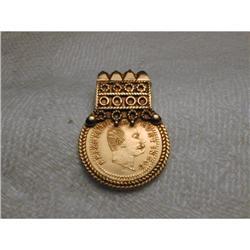 Rare 22K 24K Gold 1977 Coin Medal Pendant Slide#2393968
