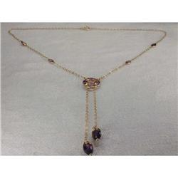 Rare Estate 14K YG Gold Amethyst Drop Necklace #2393970