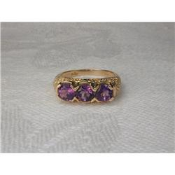 Estate 14K YG Tri-Stone Filigree Amethyst Ring #2393971