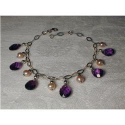 Rare 14K WG Amethyst Pink Pearl Charm Bracelet #2393972