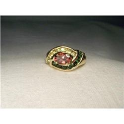 Rare Estate 14K YG Gold Citrine Tourmaline Ring#2393973