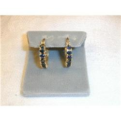 Rare Estate 14K YG Gold Sapphire Hoop Earrings #2393974