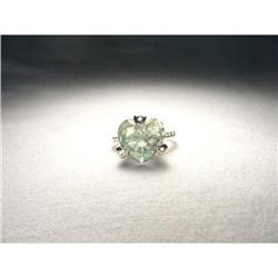 14K Gold Green Amethyst Pave Diamond Heart Ring#2393975
