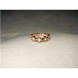 Estate 14K Pink Rose Gold Diamond Flower Ring #2393976