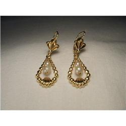 18K YG Gold Seed Pearl Drop Hanging Earrings #2393978