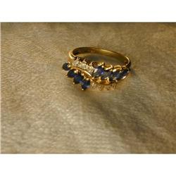 Estate 14K Gold Sapphire Diamond Filigree Ring #2393985