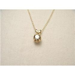 14K Gold Solitaire Champagne Diamond Necklace #2393986