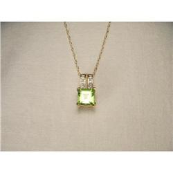 14K YG Gold Peridot Diamond Filigree Pendant #2393987