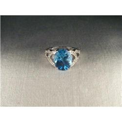14K WG Huge Blue Topaz Diamond Filigree Ring #2393988
