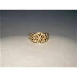 10K 14K YG Black Brown Diamond Floral Band Ring#2393989