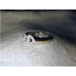 Estate 18K WG White Gold Diamond Heart Ring #2393990