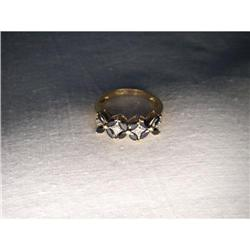 Estate 14K YG Gold Sapphire Diamond Floral Band#2393991