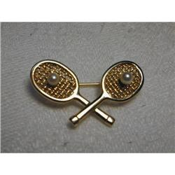 Estate 18K YG Gold Pearl Tennis Racquet Brooch #2393993