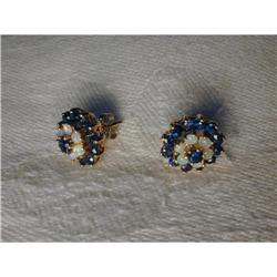 Rare Estate 14K YG Gold Sapphire Opal Earrings #2393995
