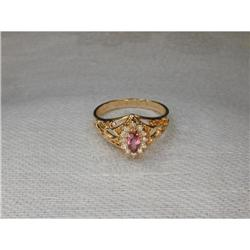 Estate 14K YG Gold Pink Tourmaline Diamond Ring#2393996