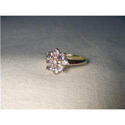 Estate 14K Gold Tanzanite Diamond Floral Ring #2393998