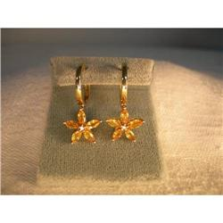 Estate 14K Gold Citrine Diamond Hoop Earrings #2393999
