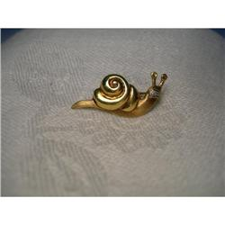 Rare Estate 14K YG Gold Diamond Snail Brooch #2394000