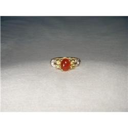 14K YG Orange Sapphire Spinel Diamond Ring #2394002