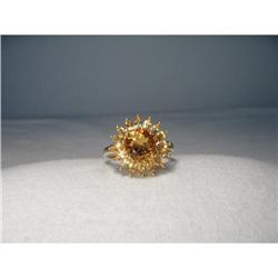 14K YG Citrine Orange Filigree Sunflower Ring #2394003