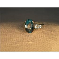 Estate 14K WG Gold Huge London Blue Topaz Ring #2394004
