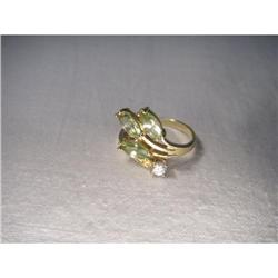 Unique Estate 14K YG Gold Peridot Diamond Ring #2394005