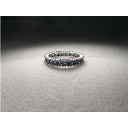 14K White Gold Sapphire Eternity Wedding Band #2394007