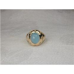 Estate 14K YG Gold Peruvian Opal Diamond Ring #2394008
