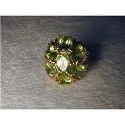 Estate 14K YG Gold Peridot Floral Flower Ring #2394009