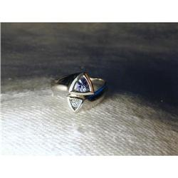 Rare 14K WG White Gold Trillion Tanzanite Ring #2394011