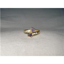 Estate 14K Gold Trillion Tanzanite Diamond Ring#2394012