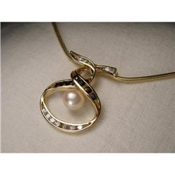 Estate 14K YG Sapphire Diamond Pearl Pendant #2394013