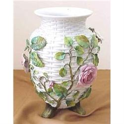 European porcelain vases with applied roses    #2394015