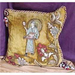 Victorian oriental figural  decorative pillow #2394017