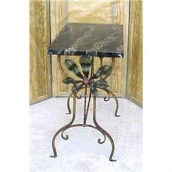 French iron & marble Art Deco table #2394018