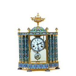 Lg Chinese Enamel Cloisonne Enamel Mantel Clock#2394081