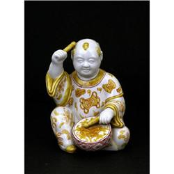 Japanese Kutani Boy Figurine Play Drum Yellow  #2394082